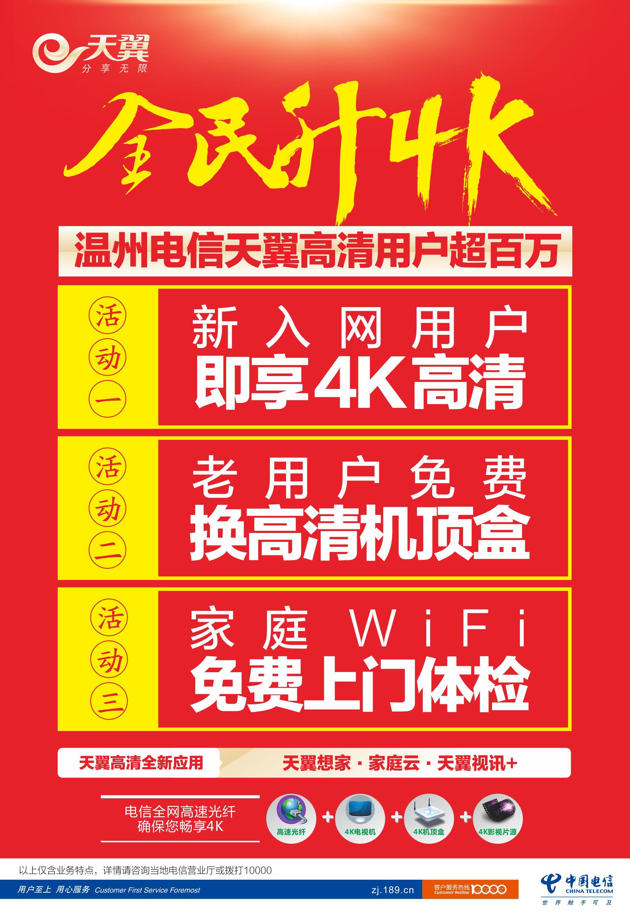 温州电信天翼高清用户突破100万  全民即日起可免费升级4K高清!